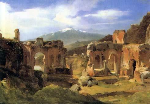 Ашиль Этна Мишалон (1796—1822) — «Руины театра в Таормина (Сицилия)», Лувр, Париж.jpg